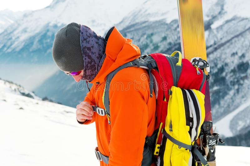 A close-up portrait of a freeride skier on the climbing track for freeride-descent. royalty free stock photography