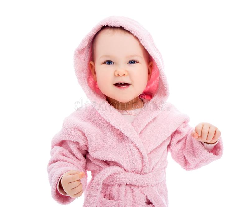 Close up portrait of funny baby girl in pink bathrobe isolated on white. Background stock photos