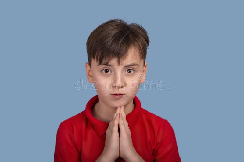 Studio portrait of a a funny boy begging or begging for something holding his palm at his chin on blue background. Close up portrait of a a funny boy begging or stock photos