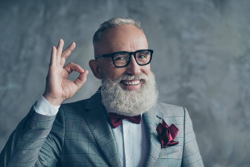 Close up portrait of funny excited cheerful with groomed stylish royalty free stock image