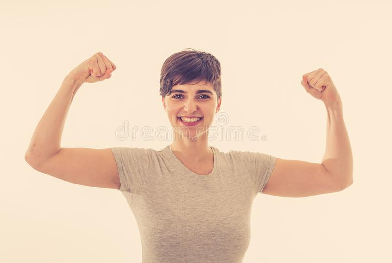 Close up portrait of funny strong smiling and laughing attractive woman in happy face and fitness stock photos