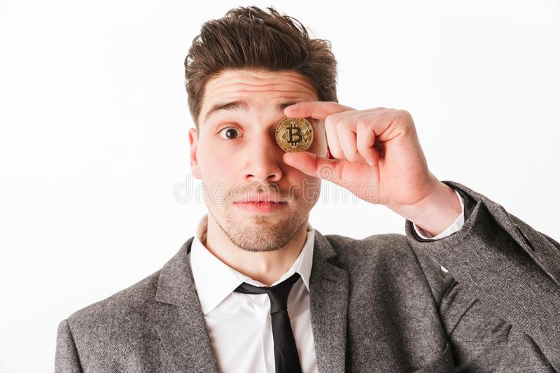Close up portrait of a funny young businessman royalty free stock image