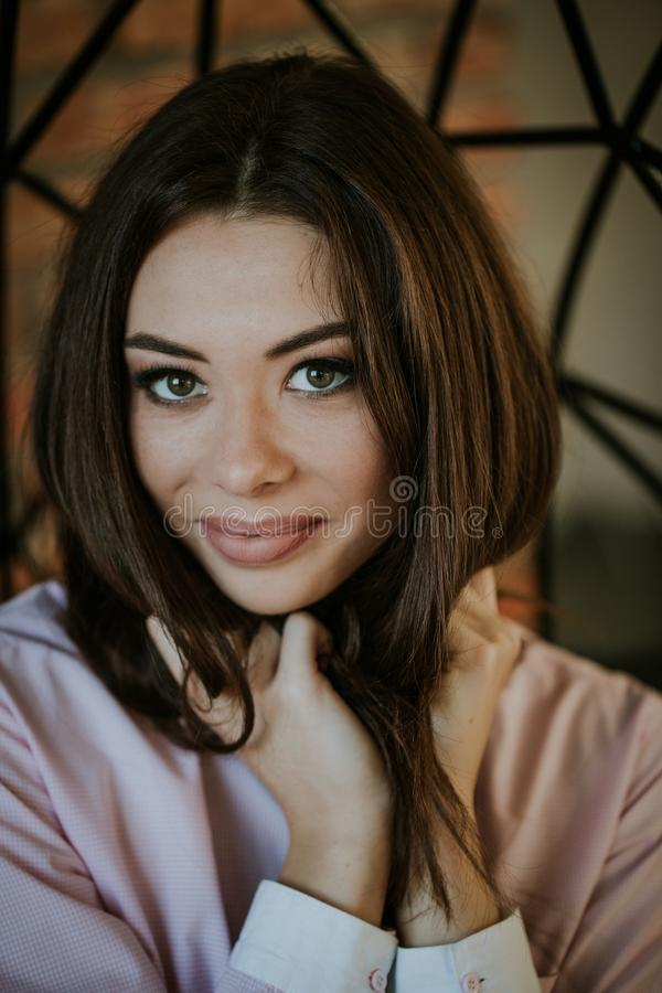 Close-up portrait of a girl in beauty salon royalty free stock photography