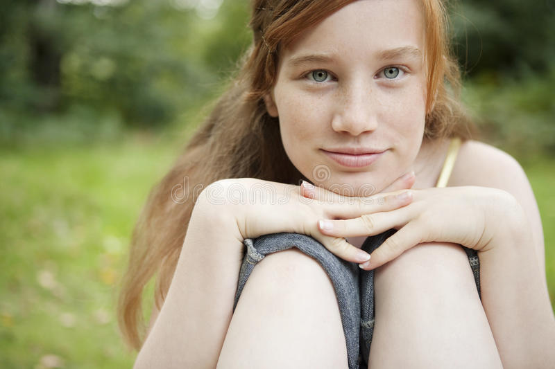 Close Up Portrait of Girl in Forest royalty free stock photos