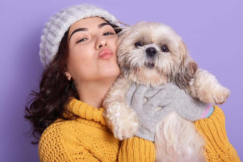 Close up portrait of girl wearing yellow knitted stylish outfit showing kiss gesture, posing with her puppy. Indoor portrait of stock photography