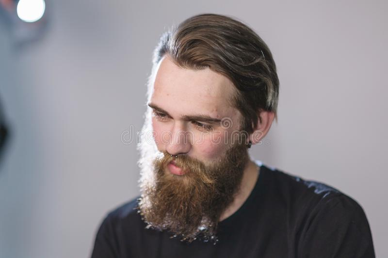 Close up. portrait of a handsome bearded man royalty free stock image