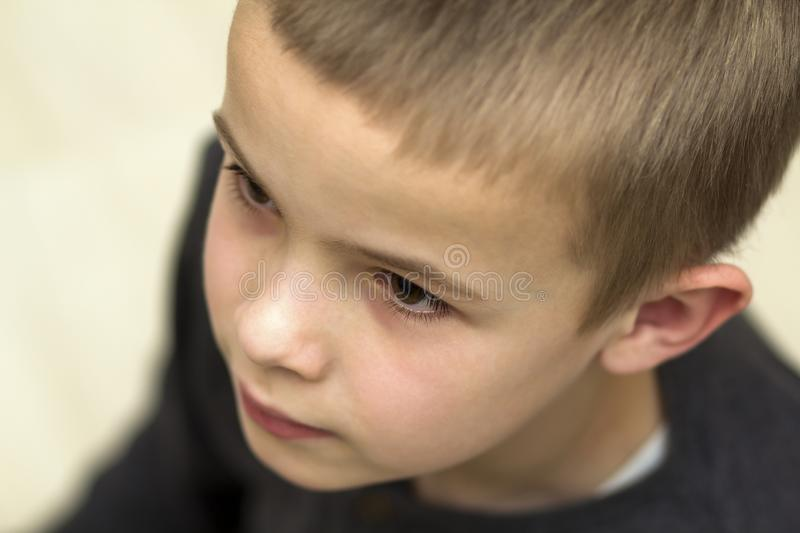 Close up portrait of handsome little boy. Top view stock images