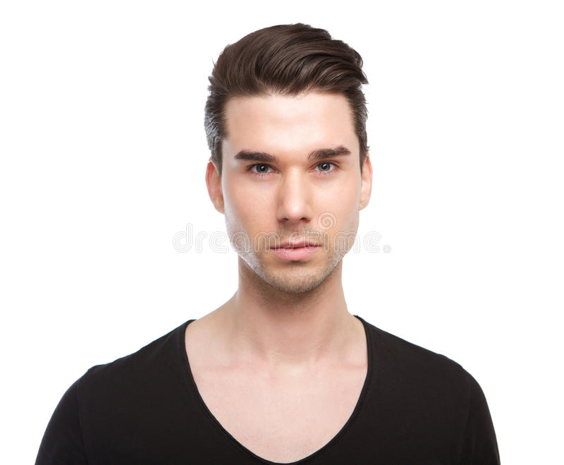 Close up portrait of a handsome male fashion model royalty free stock image