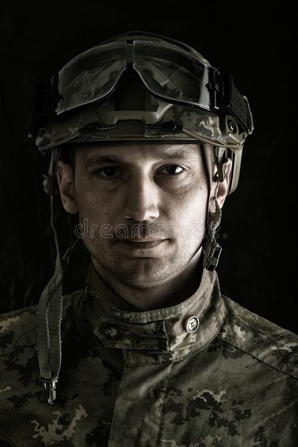 Macro portrait of handsome military man royalty free stock image