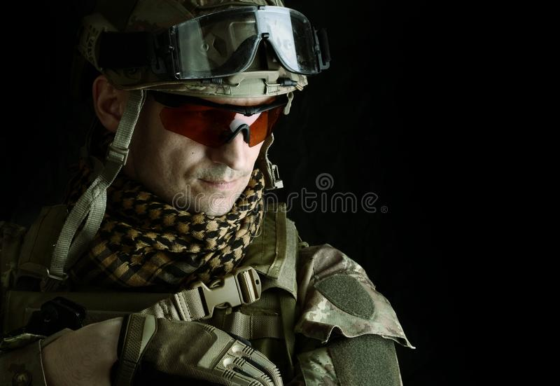 Macro portrait of a handsome military man stock images