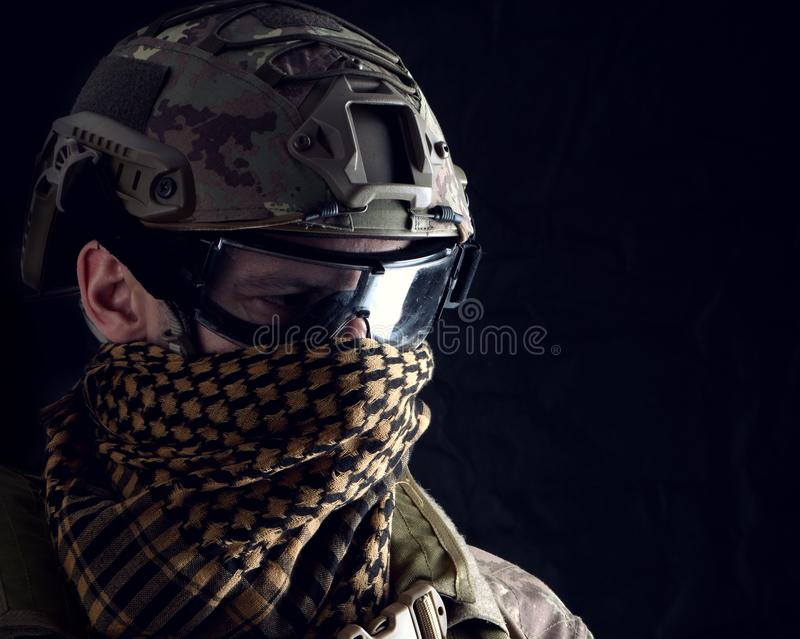 Macro portrait of a handsome military man stock photos