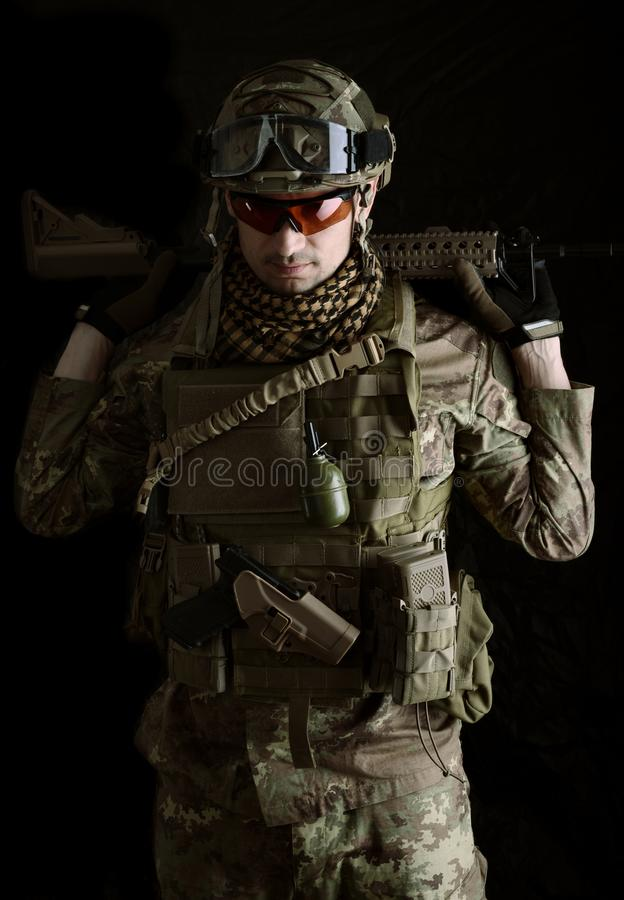 Macro portrait of a military man sniper stock image