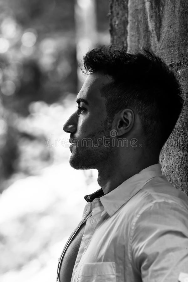 portrait of handsome young man, outdoor royalty free stock photography