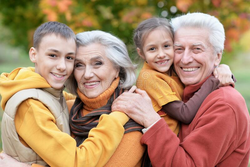 Happy grandfather, grandmother and grandchildren in park stock photography