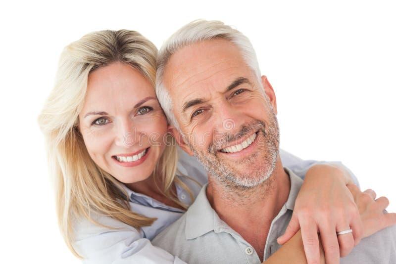 Close up portrait of happy mature couple stock images