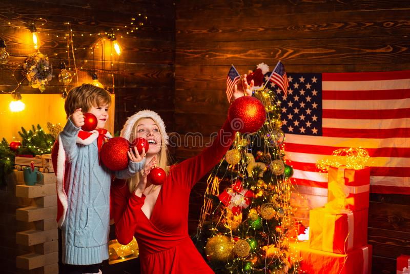 Close up portrait of happy mother and adorable baby celebrate Christmas. Christmas shopping concept. Concept of Merry royalty free stock photos