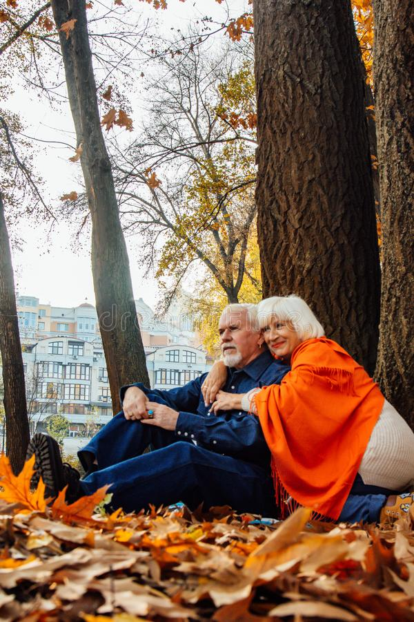 Close up portrait of a happy old woman and man in a park in autumn foliage.  royalty free stock image