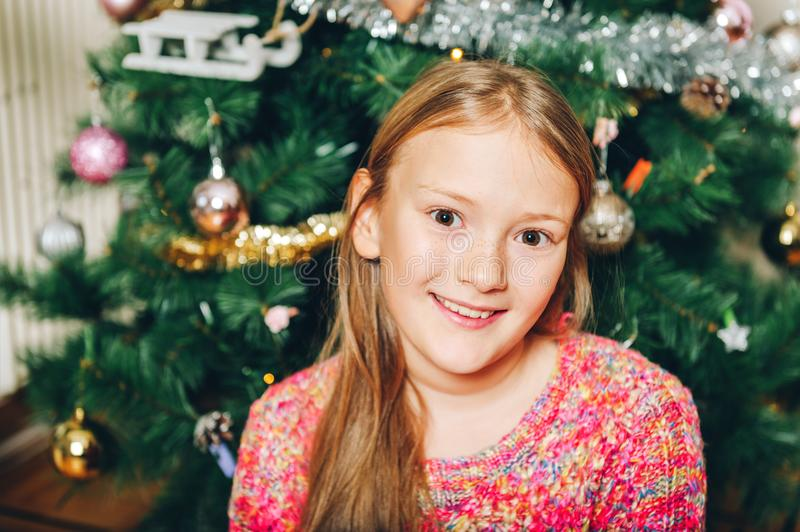 Close up portrait of happy preteen girl royalty free stock image
