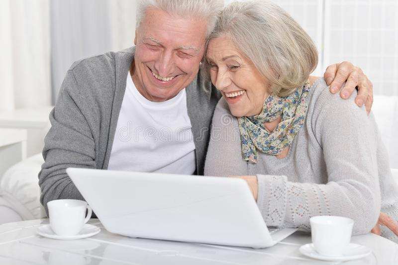 Close-up portrait of happy senior bookkeepers working stock photography