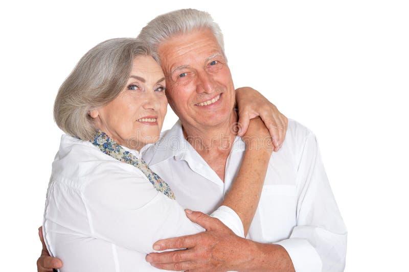 Close up portrait of happy senior couple on white background royalty free stock photo