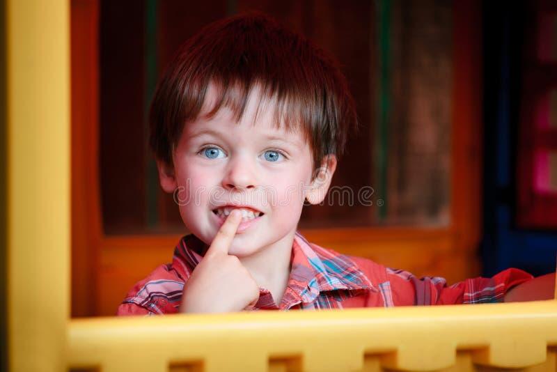 Close up portrait of happy smiling little boy stock image