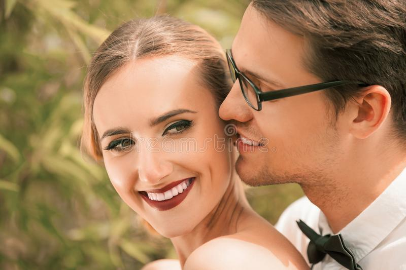 Close up. portrait of happy young lovers. royalty free stock images
