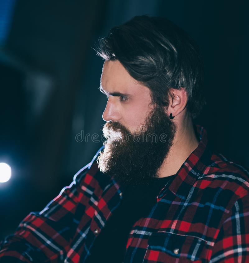 Close up. portrait of a harsh bearded men hipster stock photos
