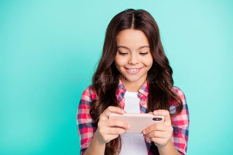 Close-up portrait of her she nice attractive charming cute cheerful cheery wavy-haired girl in checked shirt chatting 5g stock photography