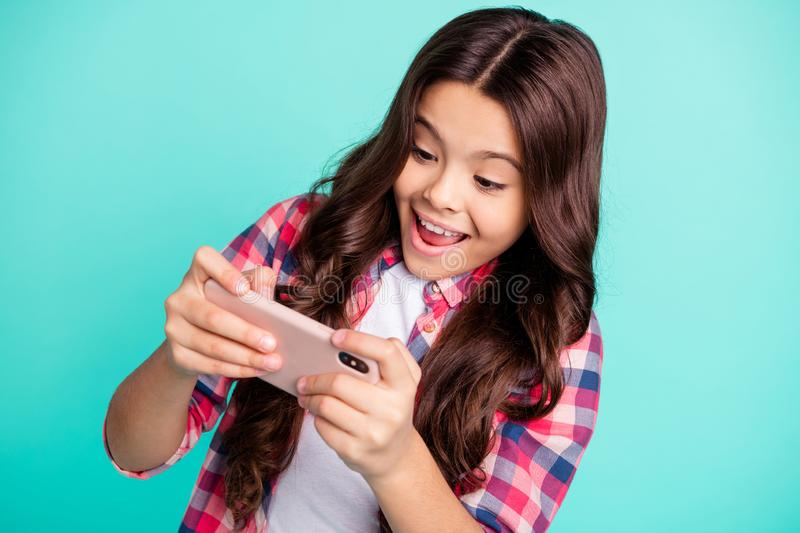 Close-up portrait of her she nice attractive charming cute girlish cheerful cheery wavy-haired girl in checked shirt royalty free stock photos