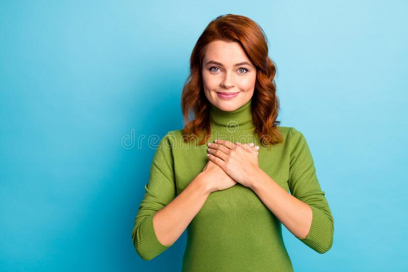 Close-up portrait of her she nice attractive cheerful cheery sweet tender grateful wavy-haired girl thanks giving day stock image