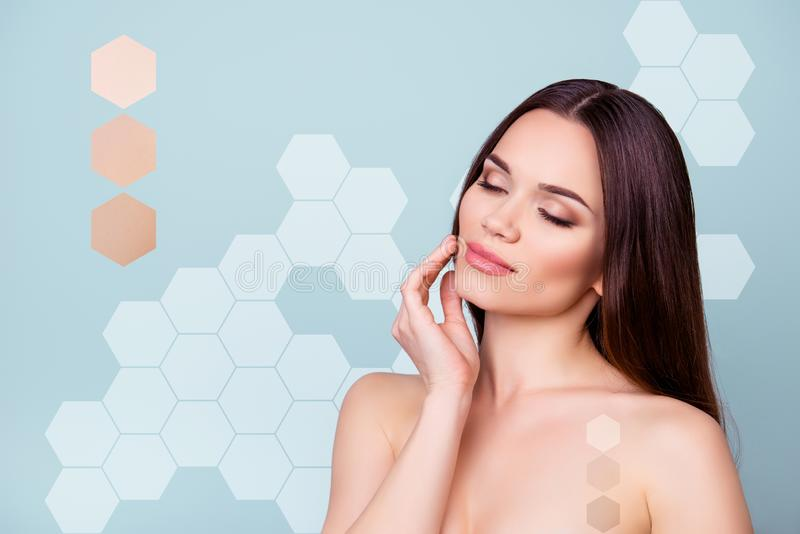Close-up portrait of her she nice attractive perfect brunette dreamy lady touching gently healthy smooth soft clear skin royalty free stock image