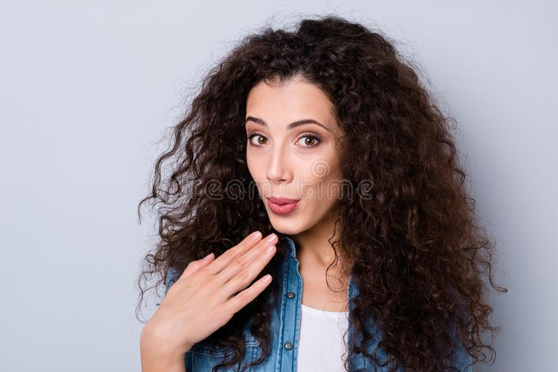 Close-up portrait of her she nice cute sweet tender gentle charming winsome attractive lovely magnificent cheerful. Dreamy wavy-haired girl pout lips over gray stock photography
