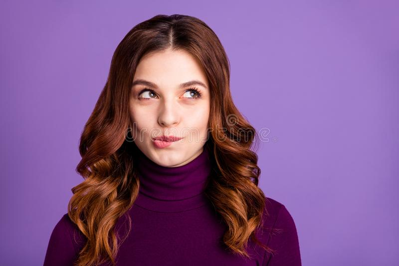 Close-up portrait of her she nice-looking attractive lovely funny curious cheerful cunning wavy-haired lady isolated royalty free stock image