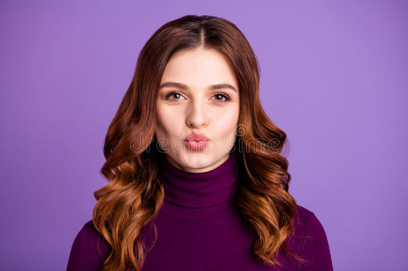 Close-up portrait of her she nice-looking attractive lovely lovable sweet cheerful cheery wavy-haired lady sending kiss royalty free stock photo