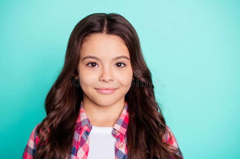 Close-up portrait of her she nice-looking attractive lovely winsome sweet cheerful confident wavy-haired pre-teen girl royalty free stock photography