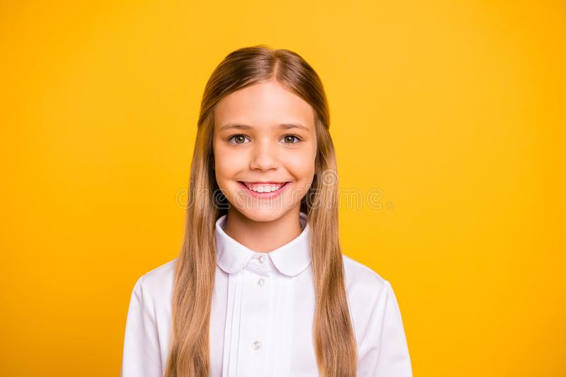 Close-up portrait of her she nice-looking attractive winsome pretty cheerful cheery straight-haired preteen girl stock photos