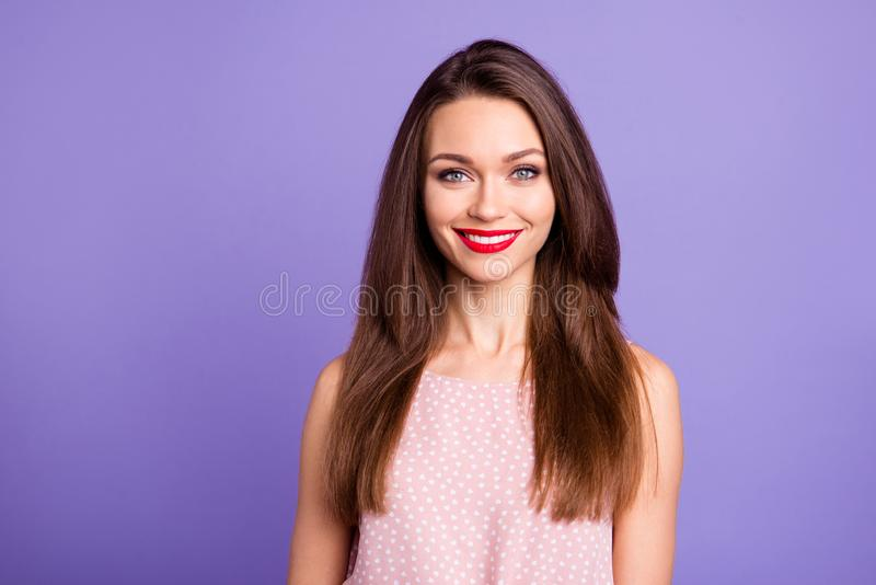 Close-up portrait of her she nice-looking charming cute sweet winsome adorable attractive well-groomed cheerful cheery royalty free stock photo