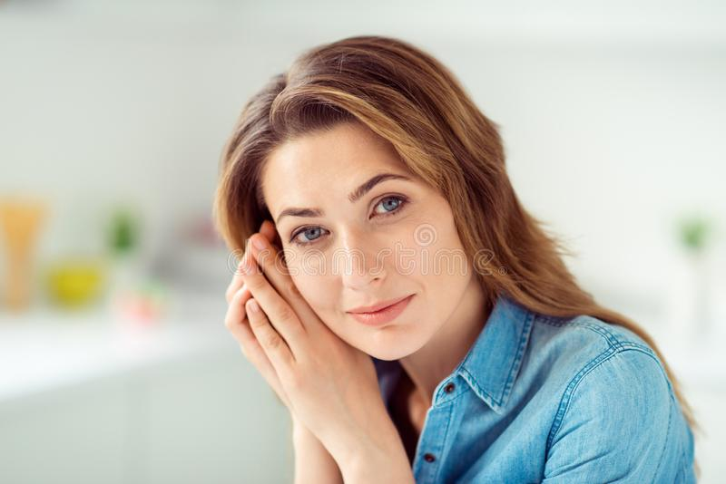 Close-up portrait of her she nice-looking lovely sweet charming attractive shine well-groomed peaceful dreamy brown. Haired lady in light white interior style royalty free stock photos