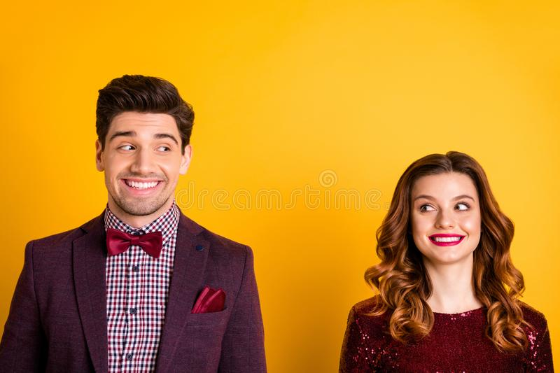 Close-up portrait of his he her she nice-looking attractive charming lovely glamorous cheerful cheery people looking at. Close-up portrait of his he her she nice royalty free stock photo