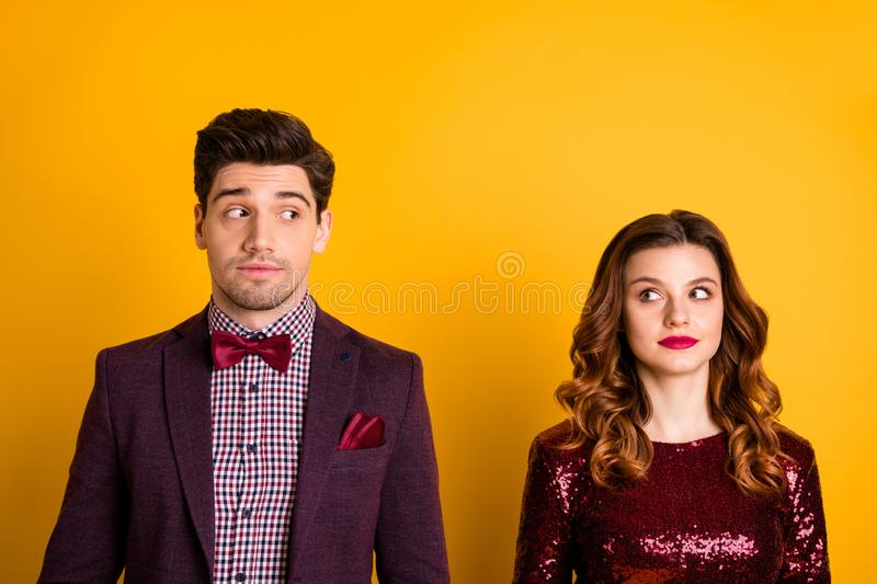 Close-up portrait of his he her she nice-looking imposing attractive elegant charming lovely glamorous suspicious people. Close-up portrait of his he her she stock image