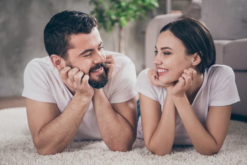 Close-up portrait of his he her she two nice attractive lovely cheerful cheery people having fun spending day daydream royalty free stock photography