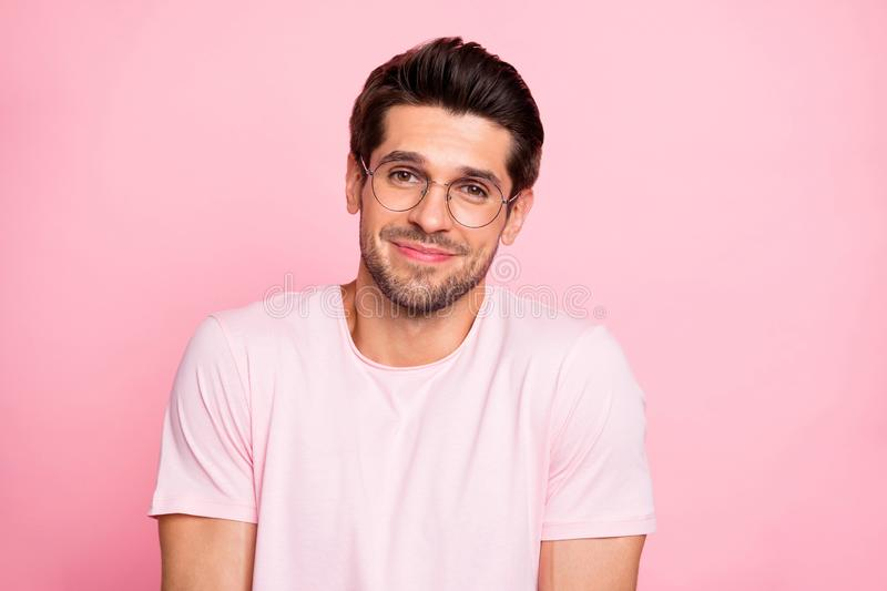 Close-up portrait of his he nice attractive lovely cheerful cheery ignorant intellectual guy wearing specs shrugging. Close-up portrait of his he nice attractive royalty free stock image