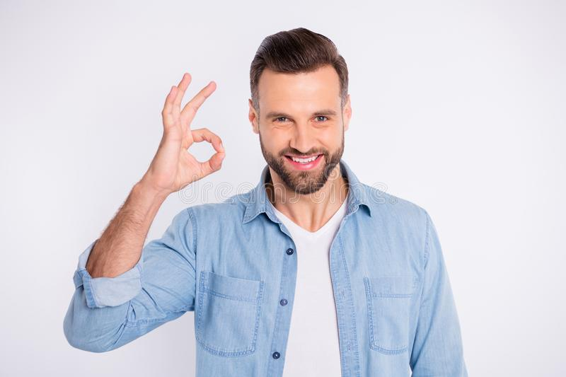 Close-up portrait of his he nice-looking attractive cheerful cheery glad content guy showing ok-sign trust solution royalty free stock photo