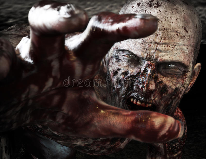 Close-up portrait of a horrible scary zombie attacking, reaching for its unsuspecting victim . Horror. Halloween. royalty free stock images