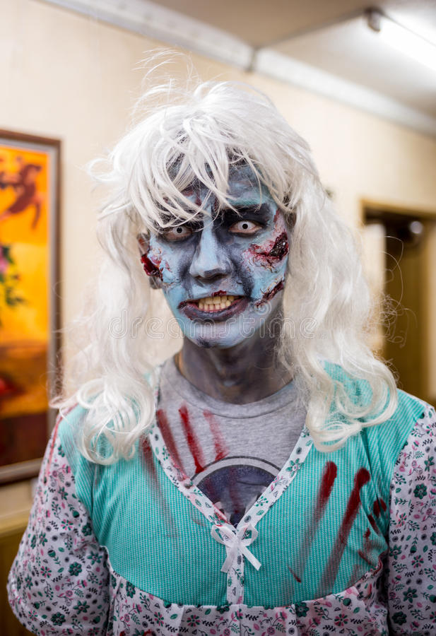 Close-up portrait of a horrible scary zombie man. Horror. Halloween. royalty free stock photos