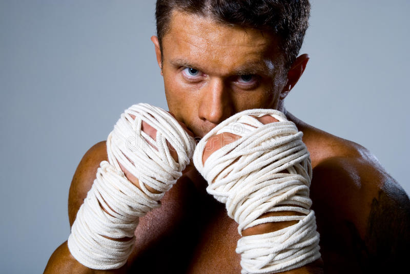 Download Close-up Portrait Of A Kick-boxer In A Fighting Stance Stock Image - Image: 28755441