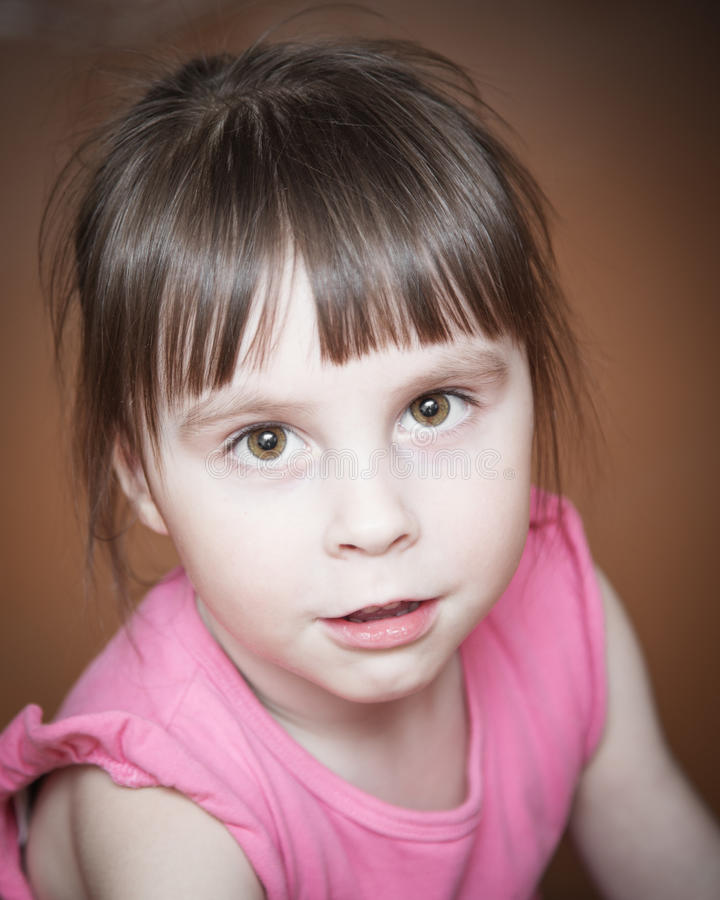 Close-up portrait of a little girl. royalty free stock images