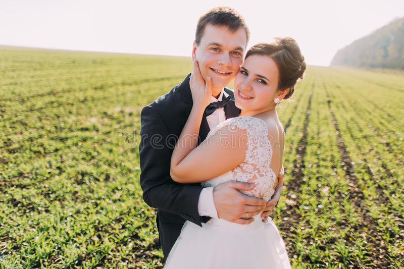 The close-up portrait of the lovely hugging newlyweds in the green field. stock images