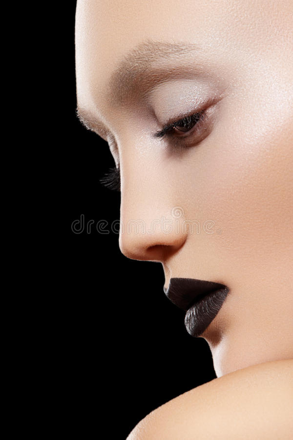 Download Close-up Portrait. Make-up Trend, Rock Black Lips Stock Image - Image: 19093699