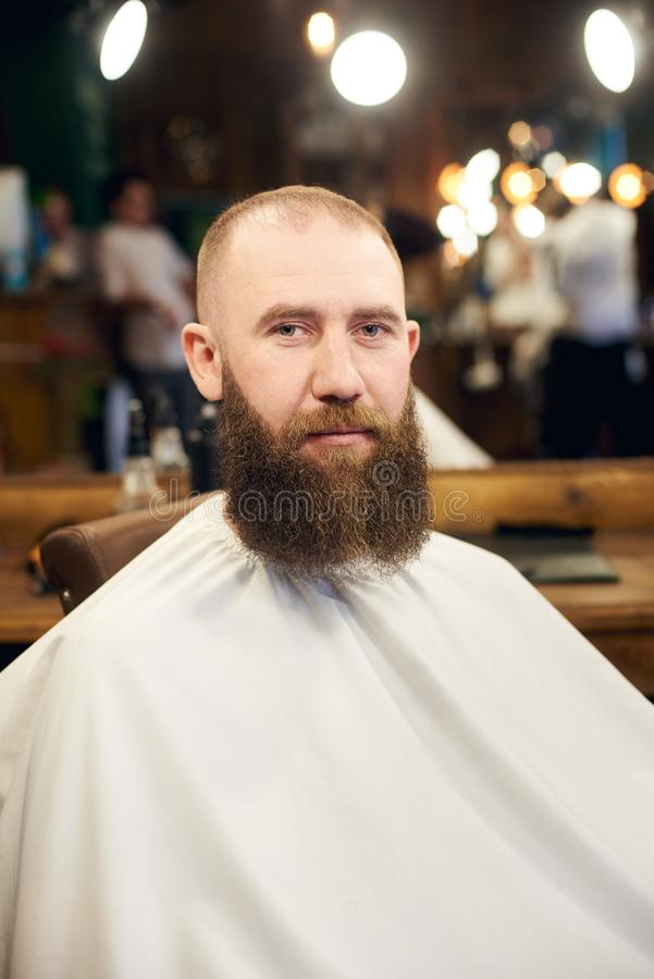 Male client with beard sitting in hairdresser chair. Serious man with long brown beard. Modern popular lumberjack style. Close-up portrait of man brutal client stock photo